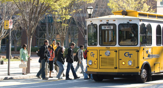 A self-coordinating system for buses was tested on the Georgia Tech trolley system, which carries 5,000 students a day.
