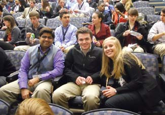 Faculty advisor Rohan Shirwaiker (left) and students from North Carolina State University smile for the camera while waiting for the start of an event at West Virginia University during the 2013 IIE Mid-Atlantic University Regional Conference in March. (Photo courtesy Emily Koledin)