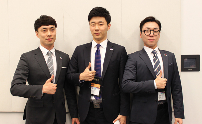"The first-place team in the IIE/ Rockwell Automation Student Simulation Competition was ""Kudos"" from Kyonggi University, seen here before they presented their solution. Team members include Taesung Kim (from left), Jungsu Han and Jiun Ryu. The faculty advisor was Myeonsig Cho."
