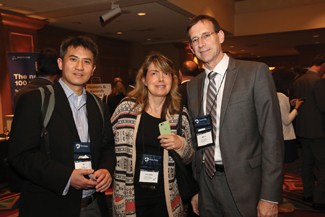 Bo Zeng (from left), Natasha S. Vidie and Bryan Norman, all from the University of Pittsburgh, pose at the honors and awards reception at the 2016 IIE Annual Conference and Expo. The 2017 conference will be held in Pittsburgh.