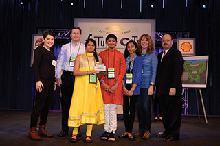 A team of three Forest Park Middle School seventh-graders won IISE's Excellence in Systems Integration award at the 2017 Future City competition. From left: IISE's Sara Ghaffari, mentor Mike Harrington, student Shriya Punati, student Pranav Lyer, student Pallavi Kandipati, teacher Mary Fasbender and IISE's Charles Hochstein.