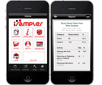The ISampler iPhone App can set up a new work sampling study with just a