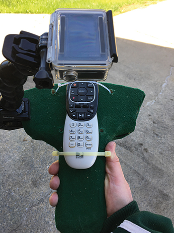 IISE Solutions project videographer Steve Hawes created this custom mount for his camera during a hand-held device study. The TV remote is used for an example.