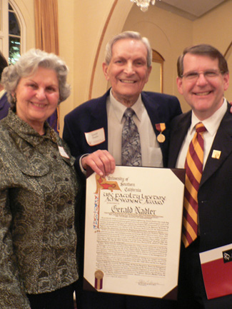 Gerald Nadler, center, displays a plaque for his USC Faculty Lifetime Achievement Award with his wife Elaine and ISE Department Chair Jim Moore in 2010. (Photo courtesy USC Viterbi School of Engineering)